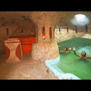 Build The Most Secret Underground House And Swimming Pools Inside