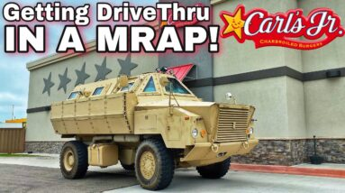 GOING THROUGH CARLS JR DRIVE THRU IN ARMORED MRAP! *Survival Vehicle*