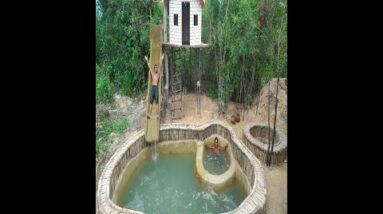 Build Tree House And WaterSlide Swimming Pools