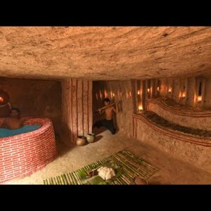 Build Bushcraft Amazing Underground House With Bath Pools Underground