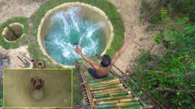 Build Most Tree House And Bamboo Water Slide Swimming Pools